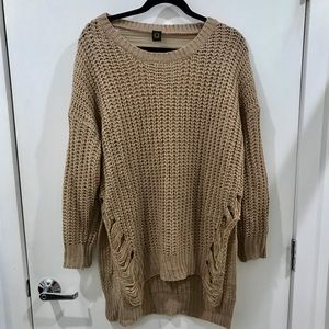 Sweaters - Destroyed / Distressed Mocha Brown Sweater